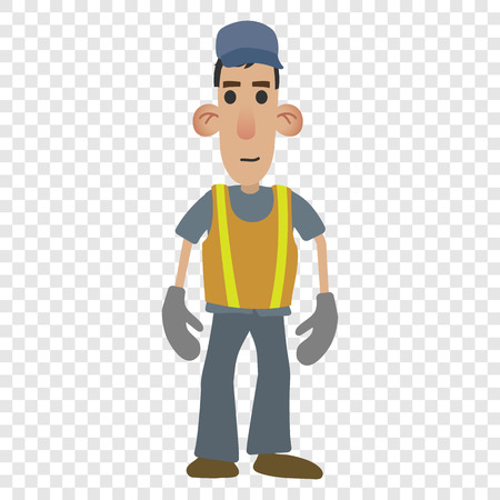 warning vest: Road worker in cartoon style isolated on transparent background