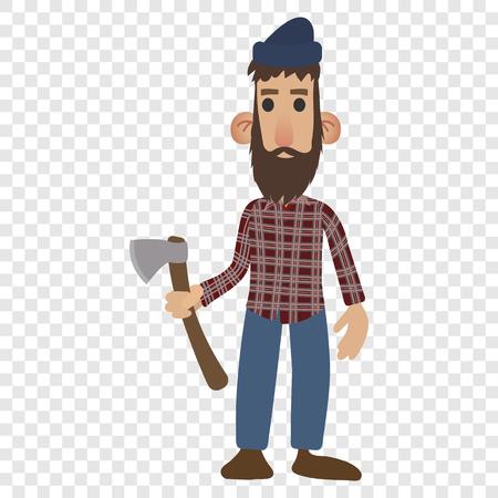 uomo rosso: icona del fumetto Lumberjack isolato su sfondo trasparente Vettoriali