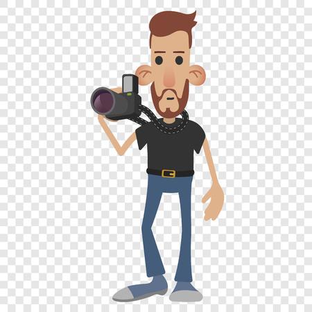 Photographer cartoon icon isolated on transparent background