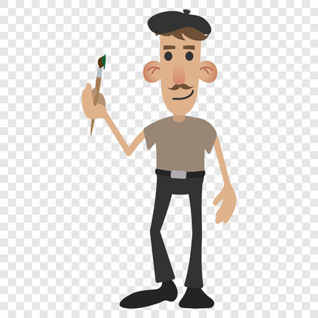 painter cartoon: French painter in cartoon style on transparent background Illustration