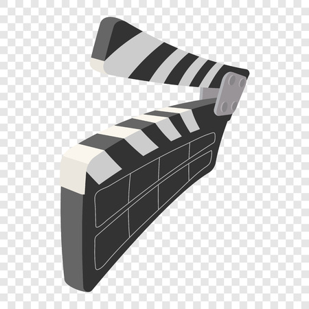 Clapperboard cinema icon in cartoon style on transparent background