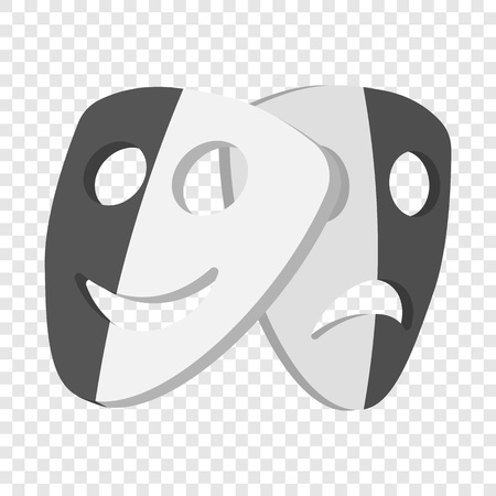 Theater masks icon in cartoon style on transparent background