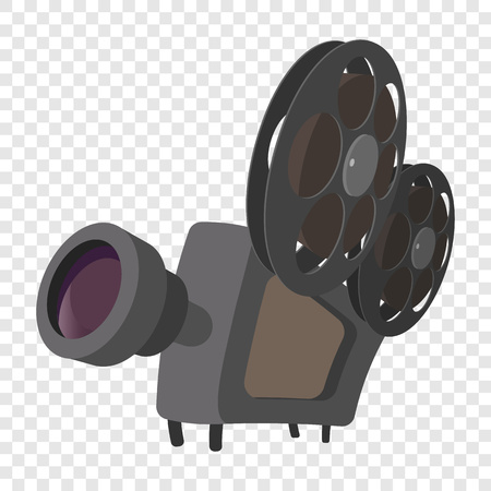 at the movies: Cinema camera icon in cartoon style on transparent background