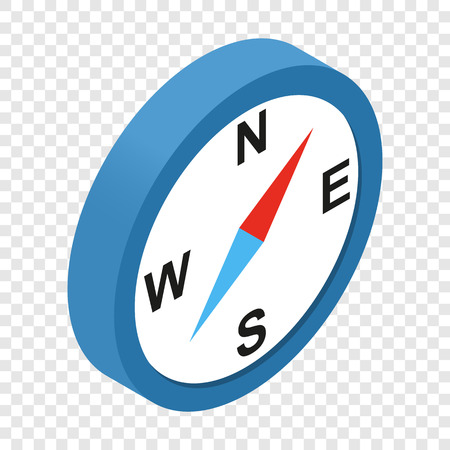 compas de dibujo: Brújula isométrica icono 3d en el fondo transparente
