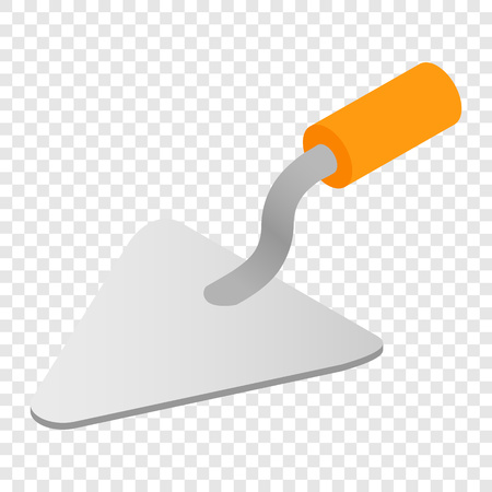 Trowel isometric 3d icon on transparent background