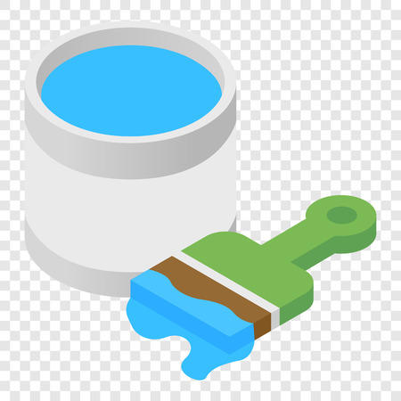 transparent brush: Paint and paint brush isometric 3d icon on transparent background
