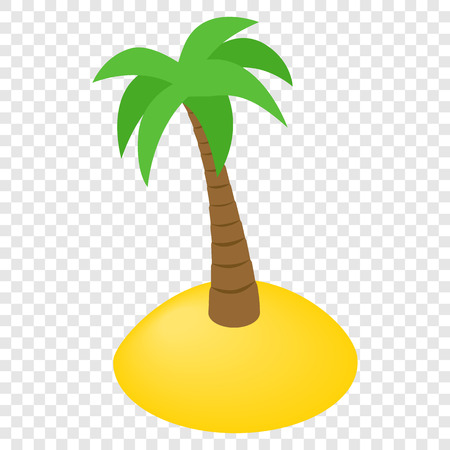summer tree: Island isometric 3d icon on transparent background Illustration