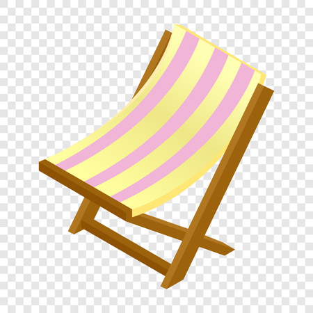 chaise lounge: Wooden chaise lounge isometric 3d icon on transparent background Illustration