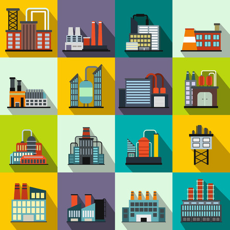 factory building: Industrial building factory flat icons set for web and mobile devices