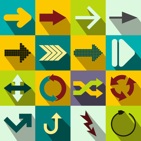 satin round: Arrow sign flat icons set for web and mobile devices