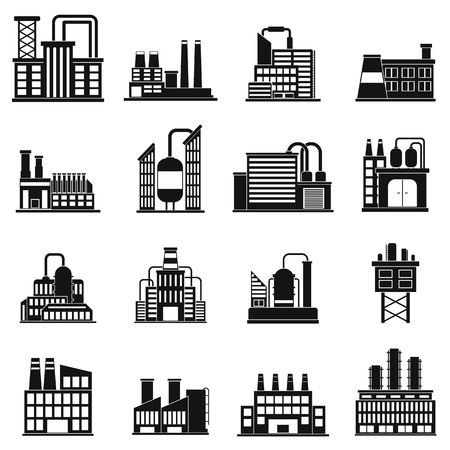 industrial building: Industrial building factory black simple icons set Illustration