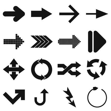 satin round: Arrow sign black simple icons set isolated on white background