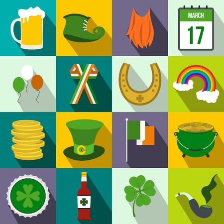 st: St Patrick Day flat icons set for web and mobile devices