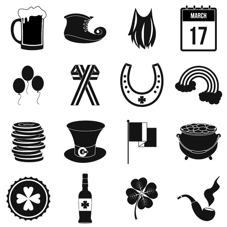 patric icon: St Patrick Day black simple icons set