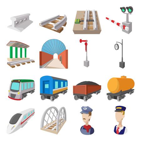 railroad crossing: Railroad cartoon icons set isolated on white background Illustration