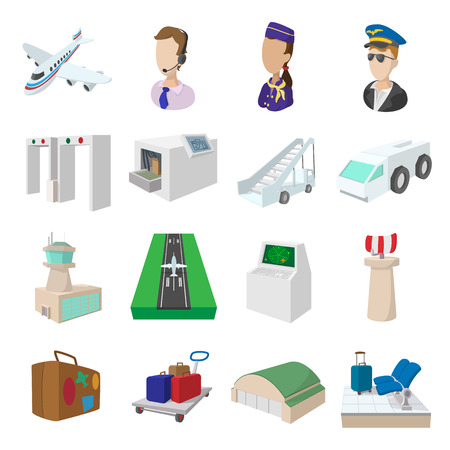 set going: Airport cartoon icons set isolated on white background