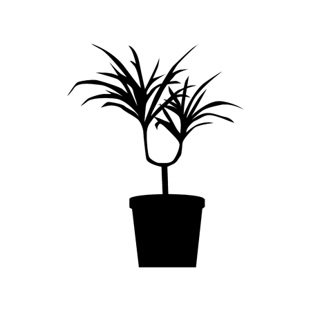 potted: Potted plants silhouette isolated on white background Illustration
