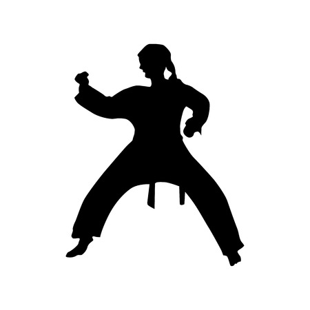 sidekick: Karate black silhouette isolated on the white background