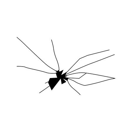 radial cracks: Broken glass silhouette isolated on white background