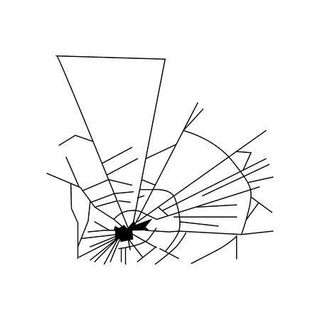 shattered glass: Broken glass silhouette isolated on white background
