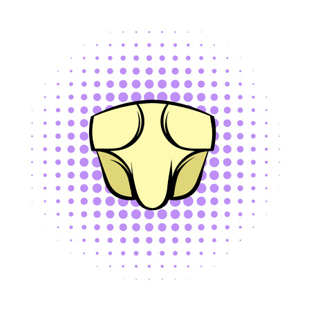 incontinence: Baby diapers comics icon on a white background