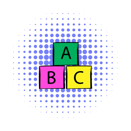 bloc: Baby cubes comics icon on a white background