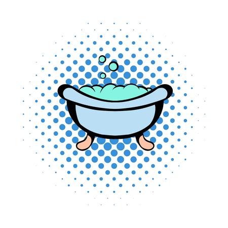 baby bath: Baby bath comics icon on a white background Illustration