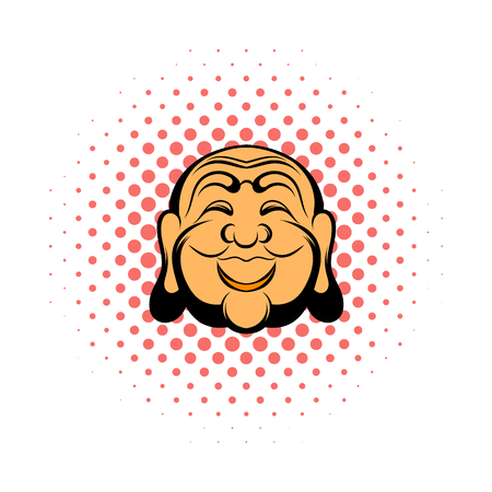 buddha head: Buddha head comics icon on a white background