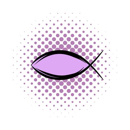ictus: Jesus fish symbol comics icon isolated on a white background