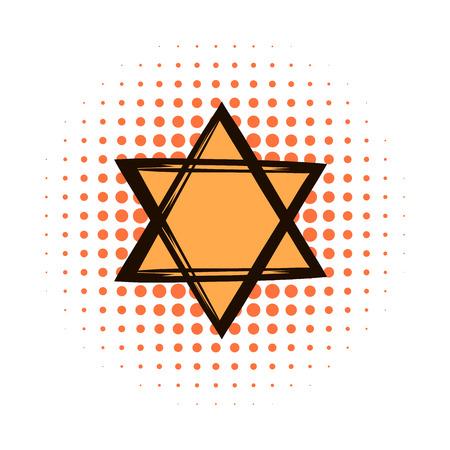 estrella de david: Estrella de David icono de cómics sobre un fondo blanco
