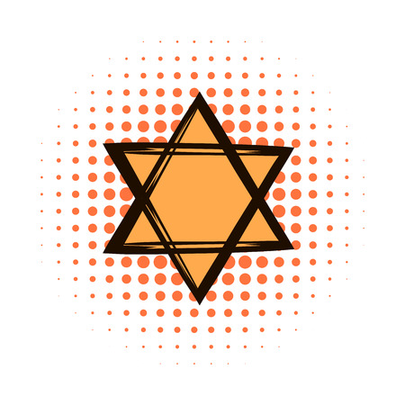 jewish star: Star of david comics icon on a white background