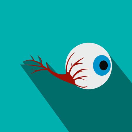 globo ocular: Globo ocular icono plana con sombra sobre fondo azul