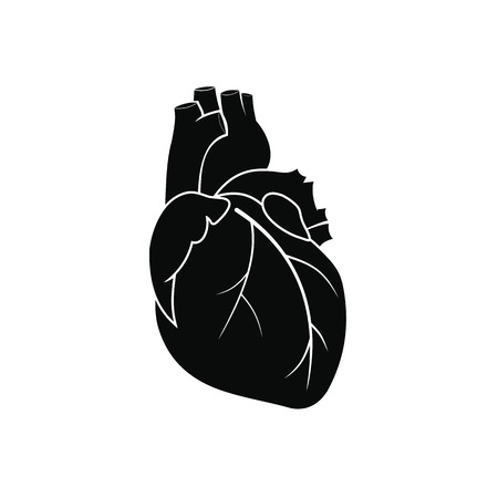 heart organ: Human heart black simple icon isolated on white background