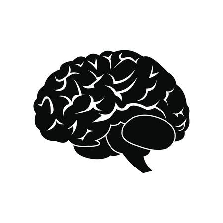 cerebro blanco y negro: El cerebro humano simple icono negro aislado en el fondo blanco
