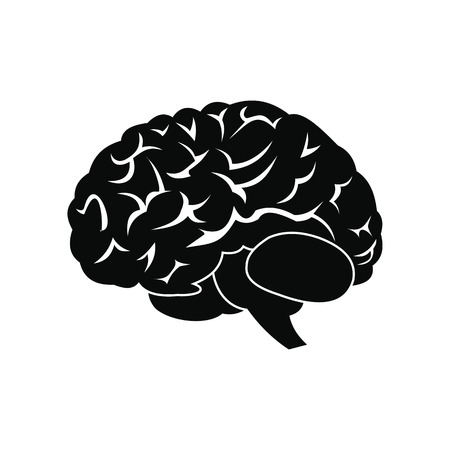 Human brain black simple icon isolated on white background Vettoriali