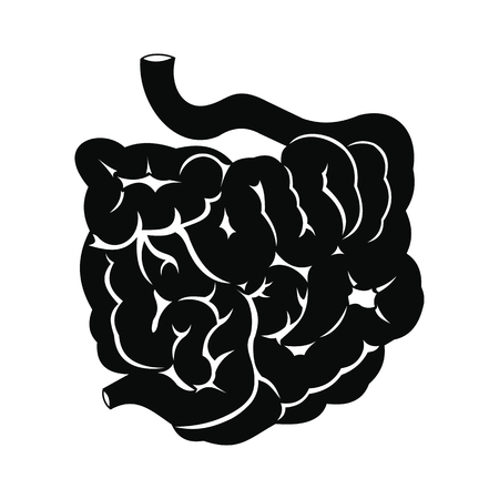 small intestine: Small intestine black simple icon isolated on white background Illustration