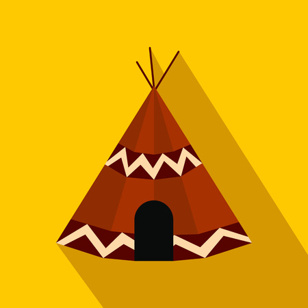 Indian tent flat icon on a yellow background