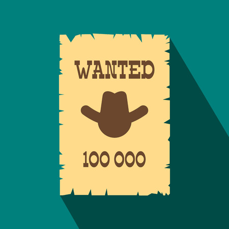 lawman: Vintage wanted poster flat icon on a blue background