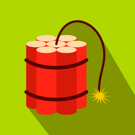 Red dynamite sticks flat icon on a green background