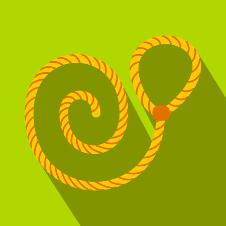 Lasso flat icon on a green background