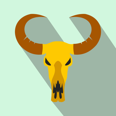 midwest: Buffalo skull flat icon on a light blue background
