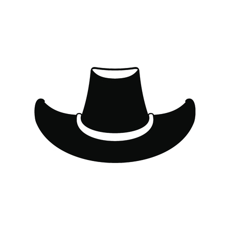 rancher: Cowboy hat black simple icon isolated on white background Illustration