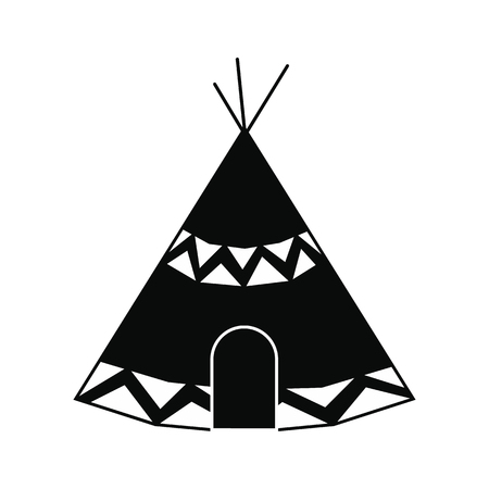 wigwam: Indian tent black simple icon isolated on white background Illustration