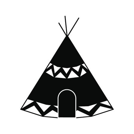 single dwelling: Indian tent black simple icon isolated on white background Illustration
