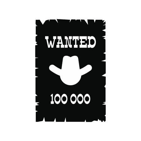 lawman: Wanted poster black simple icon isolated on white background