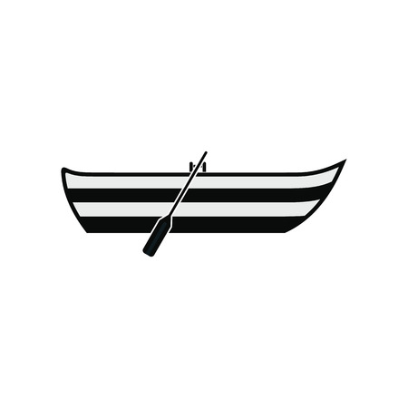 barque: Boat with paddles black simple icon isolated on white Illustration
