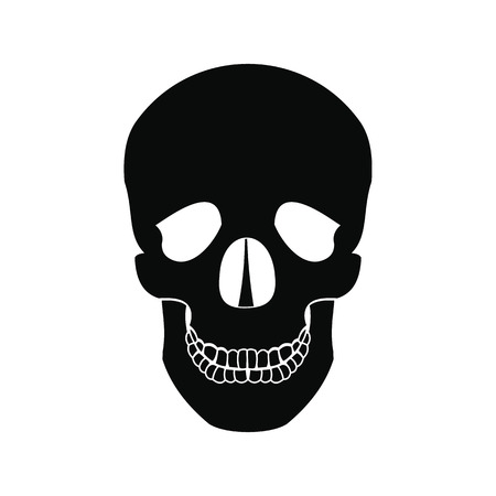 lacrimal: Human skull black simple icon isolated on white background