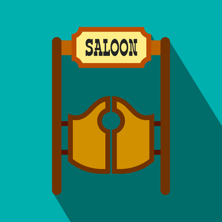 outlaws: Old western swinging saloon doors flat icon on a blue background Illustration