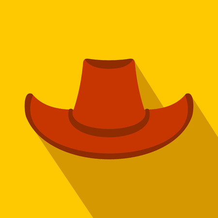 rancher: Cowboy hat flat icon on a yellow background Illustration