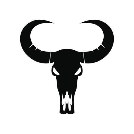 cranial skeleton: Buffalo skull black simple icon isolated on white background